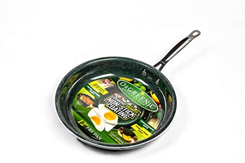 OrGREENiC Diamond Granite 12 inch Round Fry Pan with Non-stick Ceramic Coating, Fry Skillet, Saute Pans, (12 inch round, No Lid)