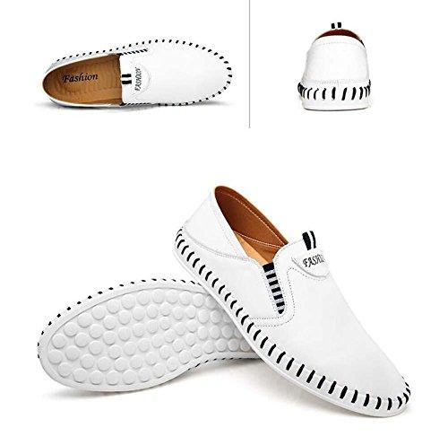 Bomba Ponerse Casual Zapatos mocasín Hombres respirable hueco Color puro Pedal Zapatos Zapatilla Conducción Zapatos Zapatos perezosos Tamaño de la UE 38-44 White