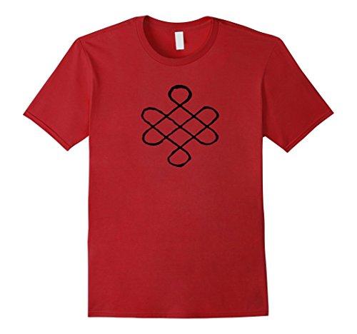 Eternal Knot (Mens Buddist Buddhism Tibetan Endless Eternal Knot Symbol T-Shirt Medium Cranberry)