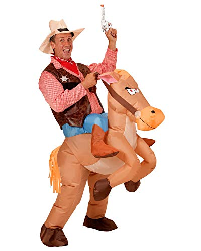 Seasonblow Inflatable Cowboy Cowgirl Ride Horse Costume Adult Fancy Halloween Party Dress Brown -