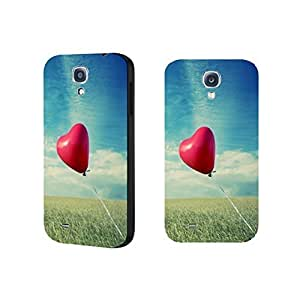 Simple Red Heart Balloon Samsung Galaxy S4 9500 Phone Case Cover Pastel Blue Sky Clouds Nature Scene Case Skin