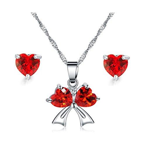 Majesto 925 Sterling Silver Red Heart Crystal Pendant Necklace Stud Earrings Set for Women Teen Girls Gift