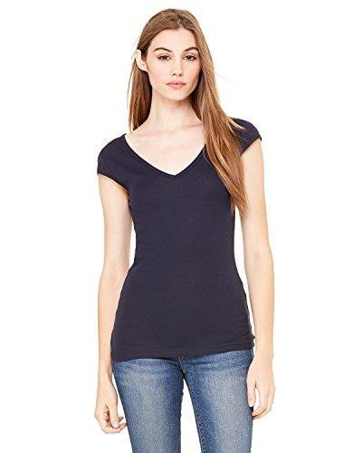 Bella + Canvas Ladies Sheer Cap-Sleeve Deep V-Neck T-Shirt, XL, MIDNIGHT