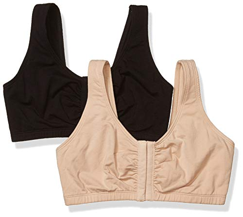 Fruit of the Loom Women's Front Close Sports Bra Bra, Sand/Black, 38