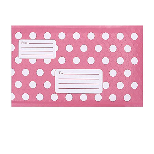 Adaman #0 6x10 Padded Envelopes Bubble Mailers, Pink with Spots Self Seal Bubble Envelopes Pack of 25