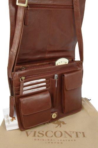 Visconti ATLANTIC 754 - Bolso bandolera organizador de cuero, apto para iPad, Kindle y portátil Marrón