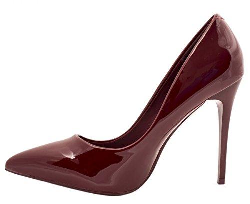 Elara Spitze Damen Pumps | Bequeme Lack Stilettos | Elegante High Heels  Bordorot Pearl ...