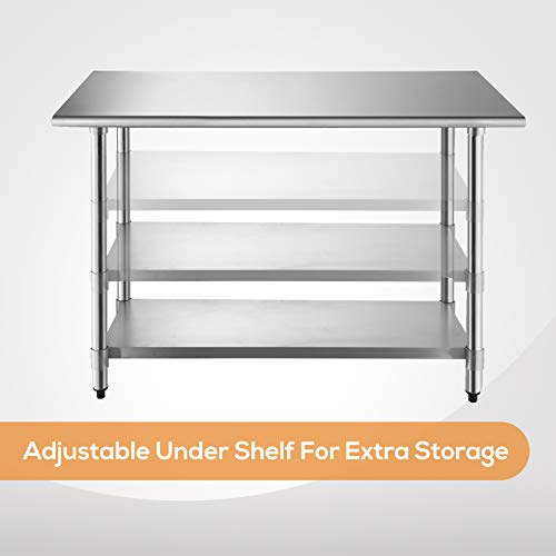 SUNCOO Commercial Stainless Steel Work Table Food Grade Kitchen Prep Workbench Metal Restaurant Countertop Workstation with Adjustable Undershelf 48 in Long x 24 in Deep by SUNCOO (Image #3)