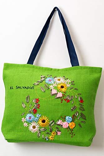 (Green Jute Handbag embroidered with ribbon )