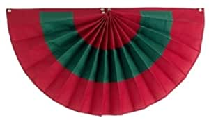 Independence Bunting & Flag 12 by 24-Inch 3-Stripe Cotton Pleated Fan, Red/Green/Red