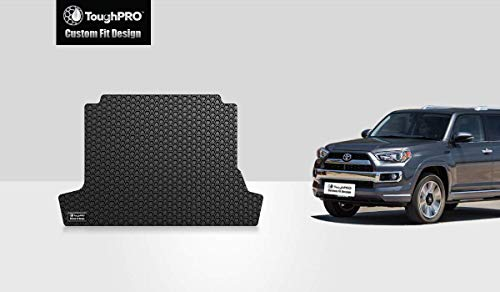 ToughPRO Cargo/Trunk Mat Compatible with Toyota 4Runner (with 3rd Row Seating & No Slide-Out Cargo Tray)-Black Rubber- 2010, 2011, 2012, 2013, 2014, 2015, 2016, 2017, 2018, 2019, 2020