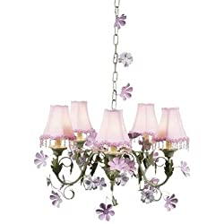 Jubilee Collection 929009-2209 5 Arm Pink/Green Leaf & Flower Chandelier with Pink Pearl Flower Shade