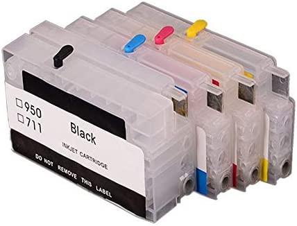 711 Cartucho de Tinta vacía Recargable con Cartuchos de Tinta de Repuesto de Chip reseteable compatibles con impresoras HP DesignJet T120 T520, 4 Colores: Amazon.es: Electrónica