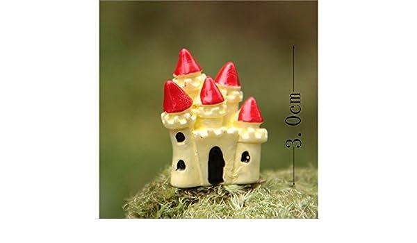 Flowerrs Jardín de Hadas Micro Miniatura Paisaje Lindo Castillo Adornos Bricolaje jardín Exterior decoración hogar Mejor Planta Verde Regalo (Rojo) ...