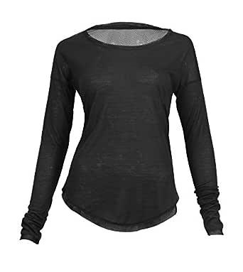 Burn Activewear Black Round Neck T-Shirt For Women