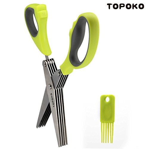 Multi Layer Scissors - Topoko Multipurpose Herb Scissors 5-Layers Scissors Stainless Steel Blades with Cleaning Comb for Kitchen & Office