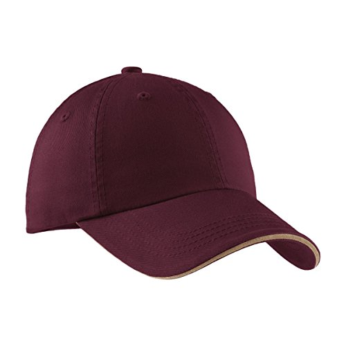 - Port Authority Signature Sandwich Bill Cap with Striped Closure, Maroon and Khaki