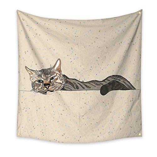 - Cat Simple Tapestry Lazy Sleepy Cat Figure in Earth Tones Cute Furry Mascot Indoor Pet Art Illustration Unique Tapestry Grey Beige 63W x 63L Inch