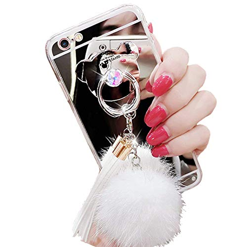 iPhone 7/8 Case, Luxury Fur Ball Soft Rubber Bumper Bling Diamond Glitter Mirror Makeup Case with Bear Ring Stand Holder for Girls (White, iPhone 7/8)