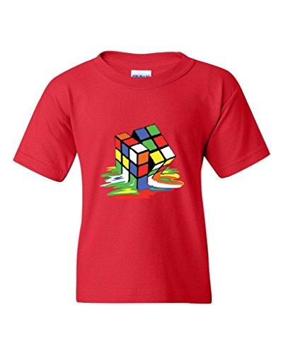 ARTIX Melting Rubiks Cube Rubik Cube People Best Friend Gifts Unisex Youth Kids T-Shirt Tee Clothing Youth Medium Red