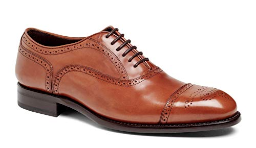 Anthony Veer Mens York Oxford Semi Brogue Leather Shoes in Goodyear Welted Construction (8.5D, Crust TAN)