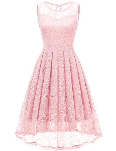 Gardenwed Women's Vintage Lace High Low Bridesmaid Dress Sleeveless Cocktail Party Swing Dress Pink 2XL