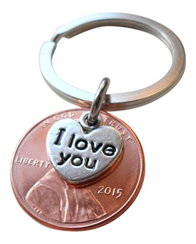 I Love You Heart Charm Layered Over 2015 Penny Keychain, 1 Year Anniversary Gift, Birthday Gift, Couples Keychain