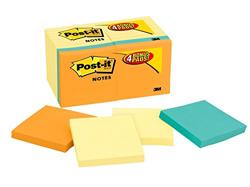 - Post-it Notes Value Pack, America's #1 Favorite Sticky Note, 3 in x 3 in, Canary Yellow, 14 Pads with 4 Free Pads in Rio de Janeiro Collection (654-14-4B)
