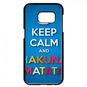 "Carcasa con texto ""keep calm and matata compatible con samsung bordo s7, color negro"