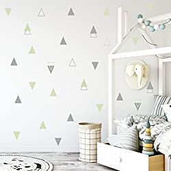 The Boho Design WALL VINYL STICKER DECAL DECOR NURSERY. Adhesive Tribal Triangles for Kids Baby Bedroom Decoration.