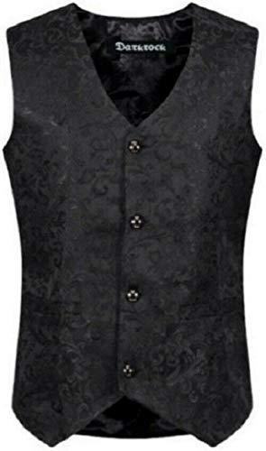 Men's Brocade Vest Waistcoat Gothic Steampunk Victorian/Western-Reenactment (2XL, Black -