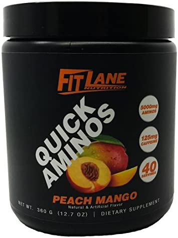 BCAA Energy Powder. Essential Amino Acids Supplement for After Workout Recovery. Quick Aminos by Fit Lane Nutrition 40 Servings Peach Mango Flavor