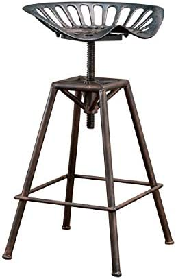 Christopher Knight Home Chapman Saddle Barstool, Black Brush Copper