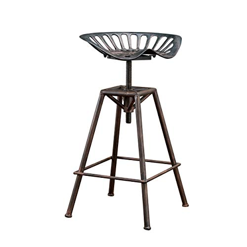 Christopher Knight Home 235249 Deal Furniture Charlie Industrial Metal Design Tractor Seat Bar Stool, Black Brush Copper