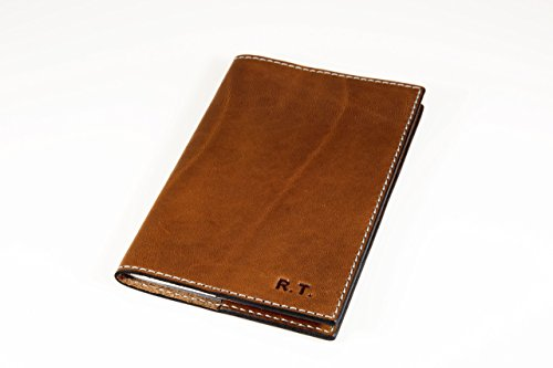 Leather Notebook Cover Moleskine Cahier Journal with Lined Paper Refillable Essex Brown Horween Leather with White Smoky Stitching Embossed Journal for Men / Women Personalized Writing Journal