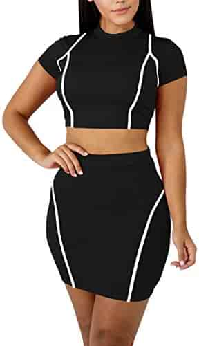 dab7b7e92accf Mokoru Women's Sexy 2 Piece Crop Top Mini Skirt Set Short Sleeve Bodycon  Club Dress