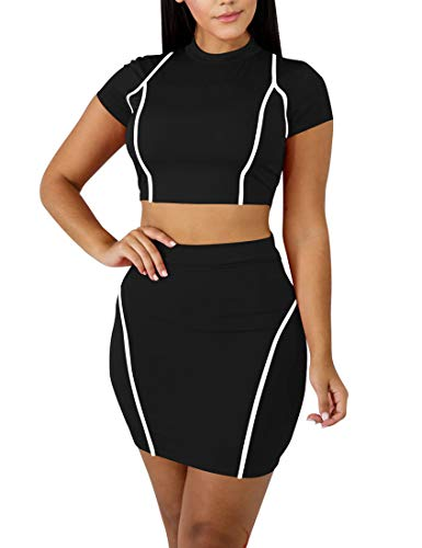 Mokoru Women's Sexy 2 Piece Crop Top Mini Skirt Set Short Sleeve Bodycon Club Dress, Medium, Black White ()