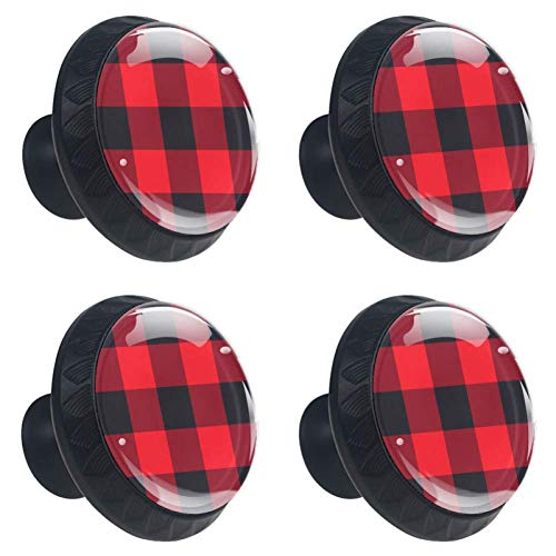 (4pcs Drawer Knob Pull Handle Red Black Buffalo Plaid Cabinet Pulls Cupboard Knobs with Screws for Home Office Dresser Furniture Wardrobe Handles 35mm)