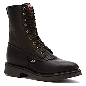 Amazon.com: Justin Mens Black Leather Work Boots Kiltie Lace-Up ...