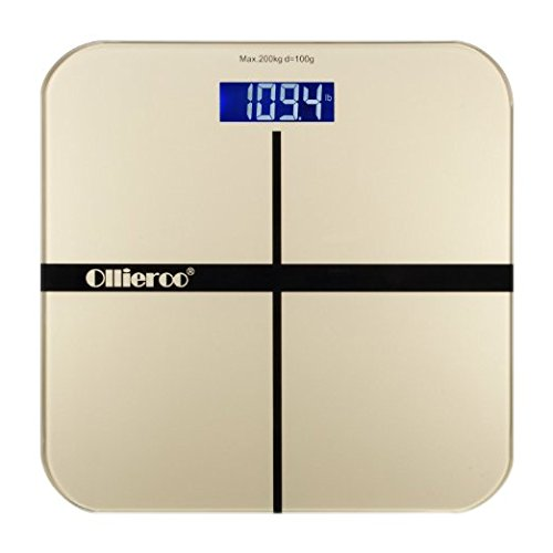 Ollieroo® Weight Scale For Gold 400lb Precision Digital Body Bathroom Scale with Tempered Glass Blue LCD Display Smart (10th Doctor Dress)