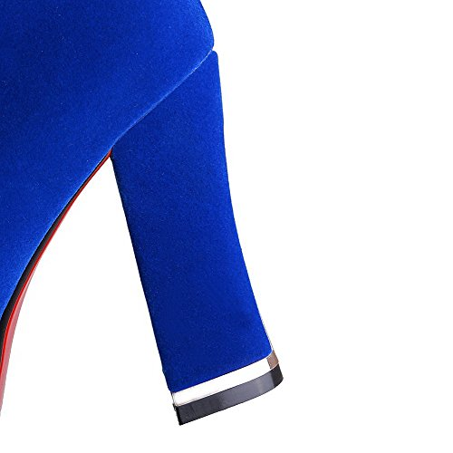 AmoonyFashion Womens Solid High-Heels Round Closed Toe Imitated?Suede Pull-on Boots Royalblue cQgscyoDYO