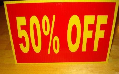 VINBOX 50% OFF Plastic Coroplast RETAIL COUNTERTOP DISPLAY SIGN w/Easel 8'',X12'', yellow