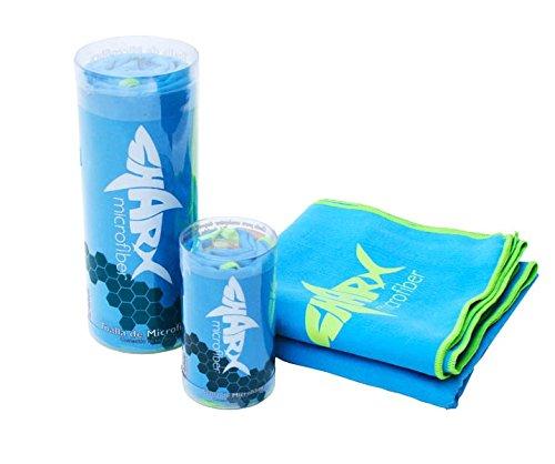 Toalla de Microfibra Deportiva Grande Sharx 80 x 160cm Color Azul Claro + Toalla Chica de Regalo (colores variados)