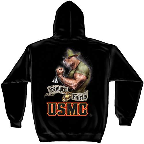 (Erazor Bits Marine Corps Clothing | USMC Chesty Bull Dog Hooded Sweat Shirt ADD-MM132SWL)