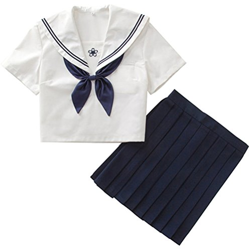 ACE SHOCK Japanese School Uniform Adult Women, Halloween Sailor Cosplay Costume Outfit White Navy (S, Short -