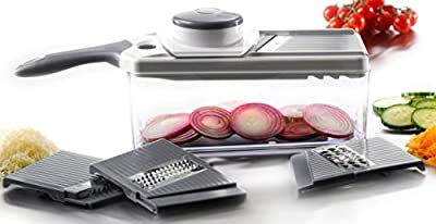 Zell Adjustable Mandoline Slicer Set   4 Interchangeable Stainless Steel Blades Cut, Peel, Slice Grate & Julienne Slicer   Durable Lightweight Multipurpose Vegetable, Cheese Slicer & Grater by Mira Brands