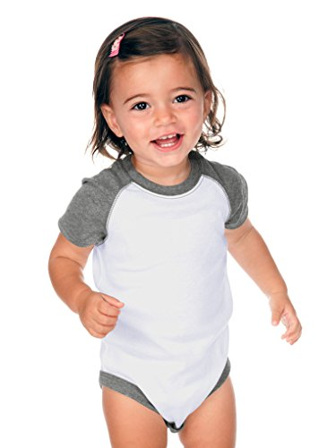 Kavio! Unisex Infants Raglan Short Sleeve Bodysuit (Same I1C0190) White/Dark Ht. Gray 18M - White Ht Trim