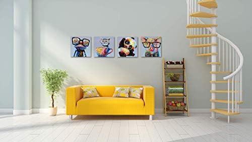 Skyme Art Modern Animal Canvas Print Wall Art Cute Panda Frog Cat Wear Glasses Painting Artwork 4 Panles Picture