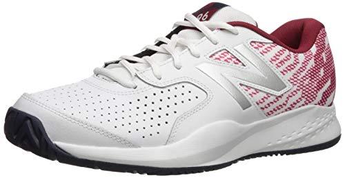 New Balance Men's 696v3 Hard Court Running Shoe, White/Scarlet, 8.5 4E US