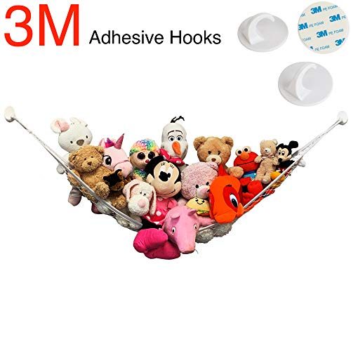 Large Stuffed Animal Toy Hammock - NO Drilling, 3M Adhesive Hooks - Nursery Hanging Organizer, Storage Net Holder for Toys, Dolls & More - by Jool Baby
